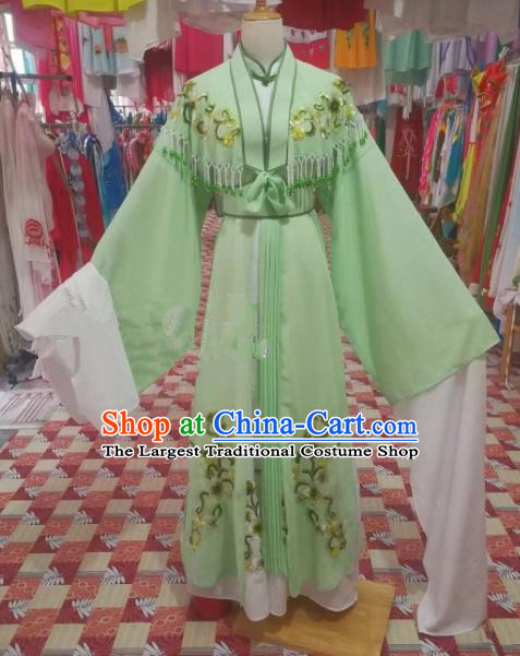 Chinese Traditional Beijing Opera Diva Costume Princess Embroidered Green Hanfu Dress for Adults