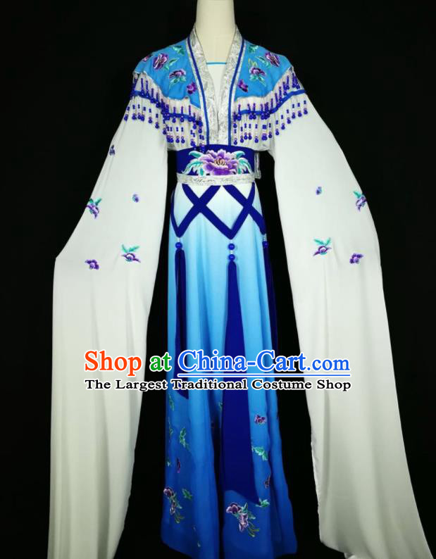 Chinese Traditional Beijing Opera Actress Costume Princess Embroidered Royalblue Hanfu Dress for Adults