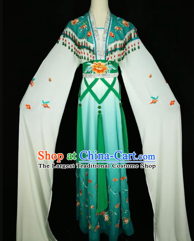Chinese Traditional Beijing Opera Actress Costume Princess Embroidered Peacock Green Hanfu Dress for Adults