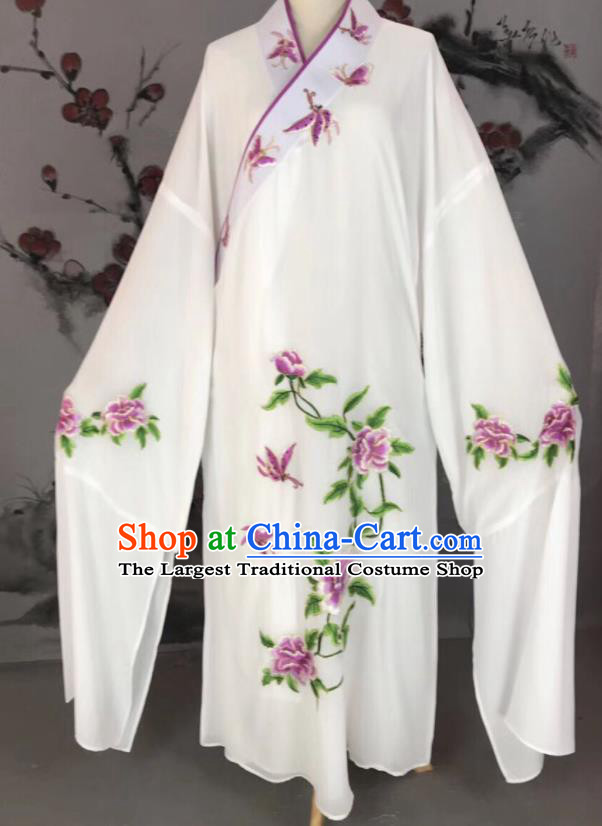 Chinese Traditional Beijing Opera Scholar Costume Peking Opera Niche White Embroidered Robe for Adults