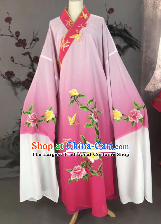 Chinese Traditional Beijing Opera Scholar Costume Peking Opera Niche Pink Embroidered Robe for Adults