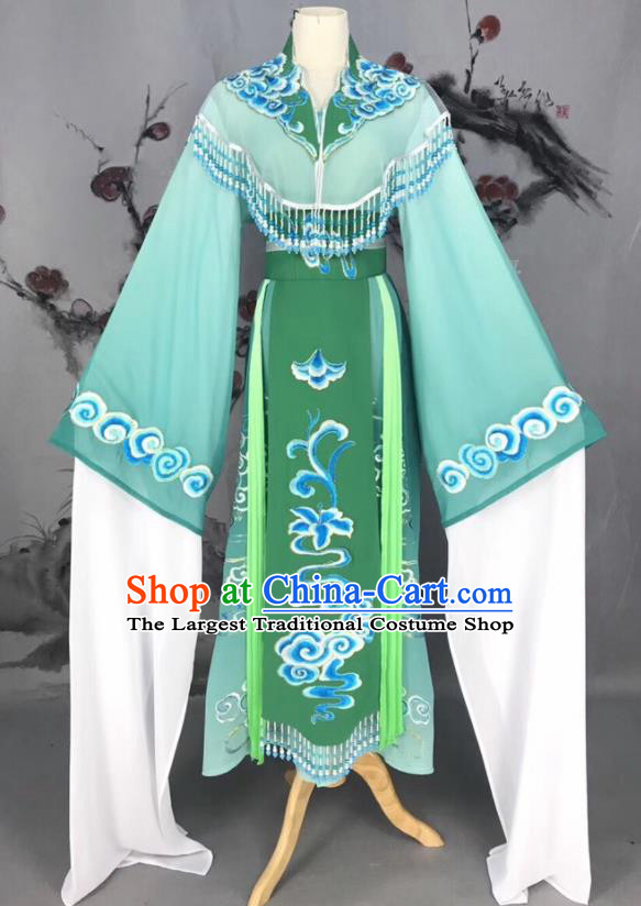 Chinese Traditional Beijing Opera Green Hanfu Dress Peking Opera Actress Costume for Rich