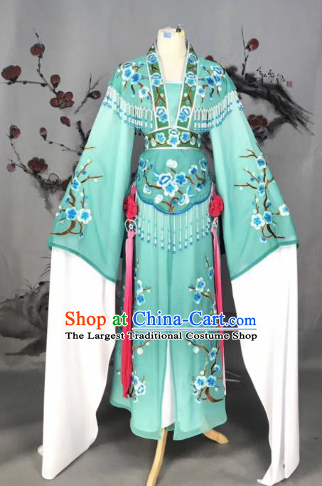 Chinese Traditional Beijing Opera Green Embroidered Dress Peking Opera Actress Costume for Rich