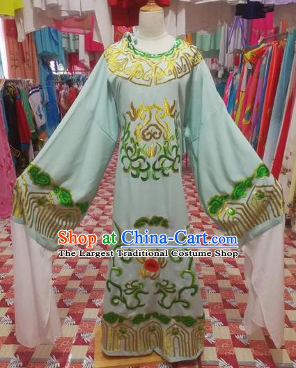 Chinese Traditional Beijing Opera Scholar Costume Peking Opera Prince Embroidered Green Robe for Adults