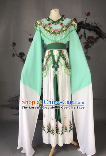 Chinese Traditional Beijing Opera Palace Lady Green Dress Peking Opera Diva Costumes for Adults