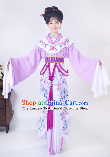 Chinese Traditional Beijing Opera Palace Lady Purple Dress Peking Opera Diva Costumes for Adults