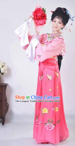 Chinese Traditional Beijing Opera Palace Lady Pink Dress Peking Opera Diva Costumes for Adults