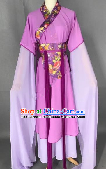 Chinese Traditional Beijing Opera Maidservants Purple Dress Peking Opera Diva Costumes for Adults