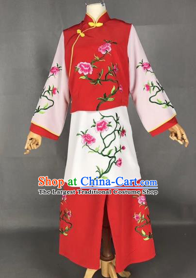 Chinese Traditional Beijing Opera Maidservants Embroidered Red Clothing Peking Opera Diva Costumes for Adults