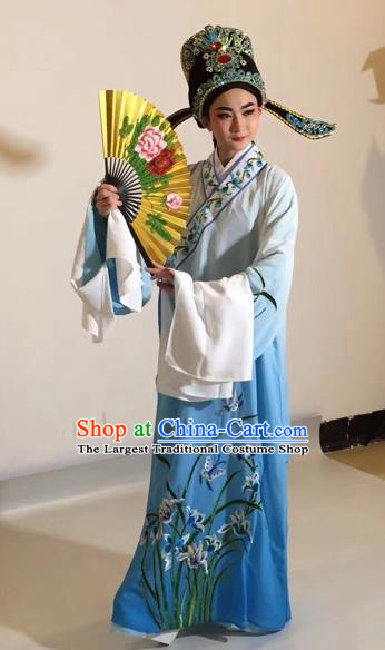 Chinese Traditional Beijing Opera Scholar Costume Peking Opera Embroidered Orchid Blue Robe for Adults