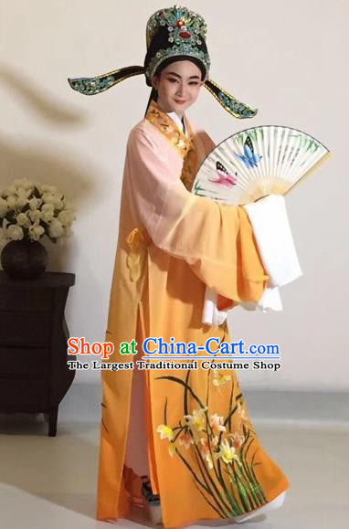 Chinese Traditional Beijing Opera Scholar Costume Peking Opera Embroidered Orchid Orange Robe for Adults