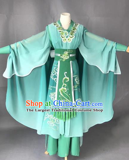 Chinese Traditional Beijing Opera Martial Arts Lady Green Clothing Peking Opera Actress Costumes for Adults