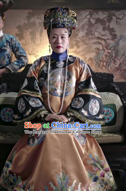 Chinese Drama Ruyi Royal Love in the Palace Ancient Qing Dynasty Queen Mother Costumes and Headpiece for Women