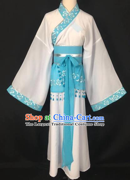 Chinese Traditional Beijing Opera Handmaiden White Hanfu Dress Peking Opera Diva Costumes for Adults