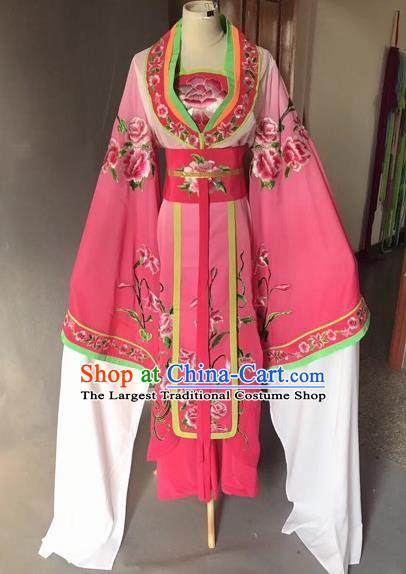 Chinese Traditional Beijing Opera Palace Lady Rosy Dress Peking Opera Diva Costumes for Adults