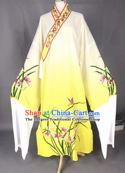 Chinese Traditional Beijing Opera Scholar Embroidered Orchid Gradient Yellow Robe Peking Opera Niche Costume for Adults