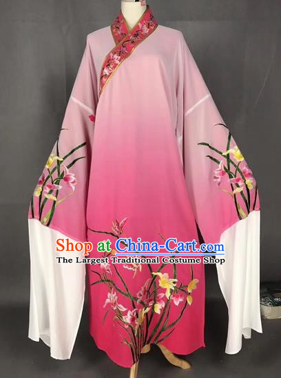 Chinese Traditional Beijing Opera Scholar Embroidered Orchid Gradient Rosy Robe Peking Opera Niche Costume for Adults
