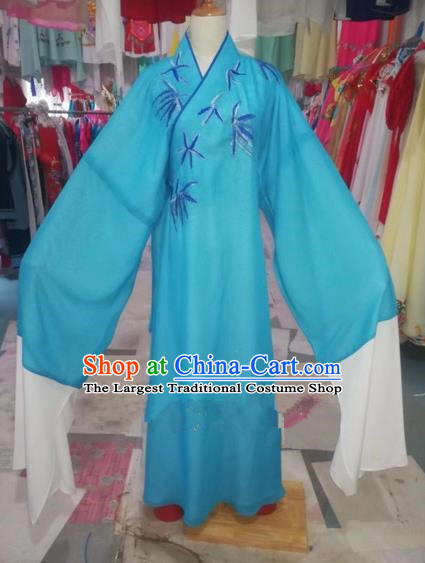 Chinese Traditional Beijing Opera Scholar Embroidered Bamboo Blue Robe Peking Opera Niche Costume for Adults
