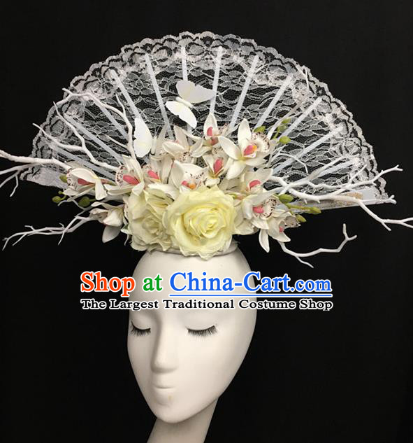 Top Halloween White Lace Hair Accessories Stage Show Chinese Traditional Catwalks Headpiece for Women