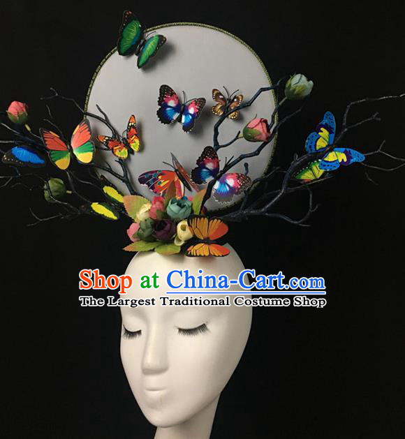 Top Halloween Colorful Butterfly Hair Accessories Stage Show Chinese Traditional Catwalks Headpiece for Women