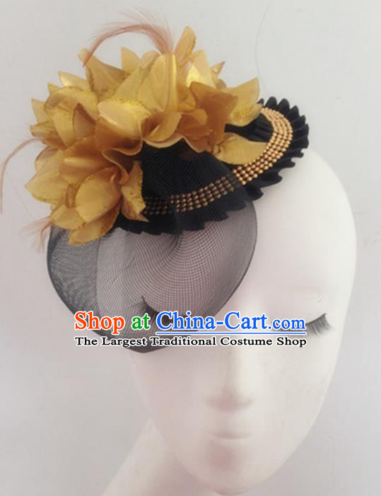 Top Halloween Catwalks Hair Accessories Stage Show Golden Peony Top Hat Headdress for Women