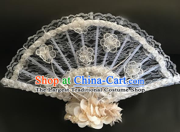 Top Halloween Hair Accessories Stage Show Chinese Traditional White Lace Catwalks Headpiece for Women