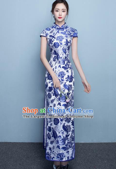 Chinese Traditional Qipao Dress Classical Costume Printing Peony Cheongsam for Women