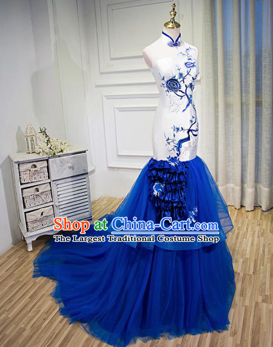 Chinese Traditional Qipao Dress Classical Costume Blue Veil Mermaid Cheongsam for Women
