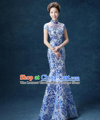 Chinese Traditional Qipao Dress Classical Costume Blue Cheongsam for Women