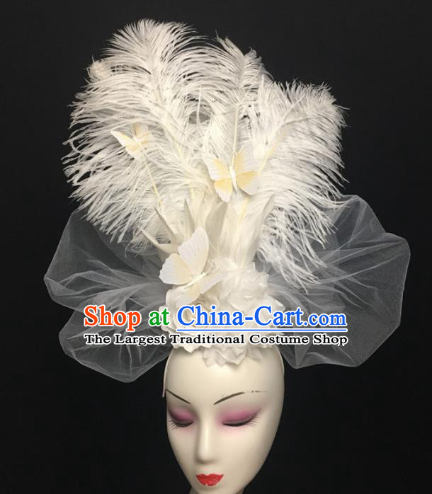 Top Brazilian Carnival Stage Show Headpiece Halloween Catwalks White Feather Hair Accessories for Women