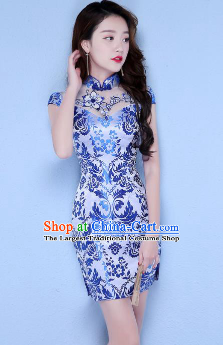 Chinese Traditional Short Qipao Dress Classical Costume Blue Cheongsam for Women