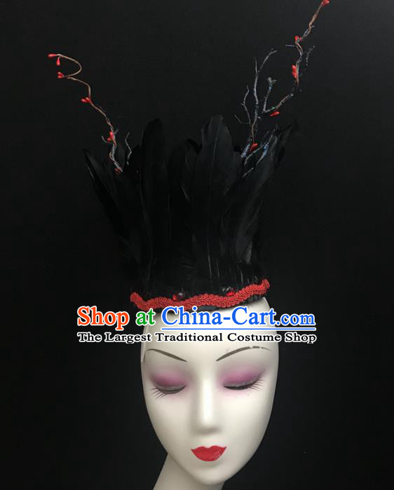 Top Brazilian Carnival Stage Show Headpiece Royal Crown Halloween Catwalks Black Feather Hair Accessories for Women