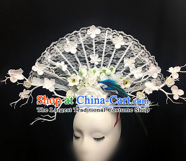 Chinese Stage Show White Lace Peony Hair Accessories Traditional Catwalks Palace Headdress for Women