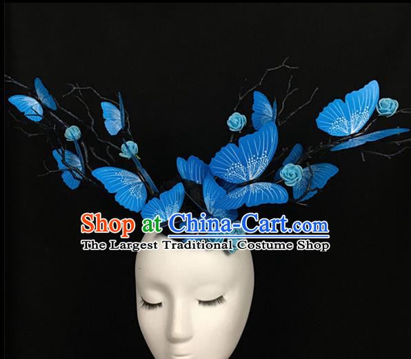 Top Brazilian Carnival Stage Show Headpiece Halloween Catwalks Blue Butterfly Hair Accessories for Women