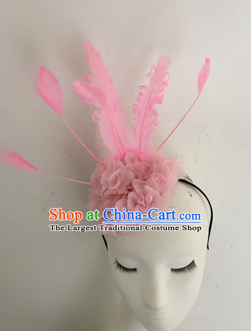 Top Brazilian Carnival Stage Show Headpiece Halloween Catwalks Pink Feather Hair Accessories for Women