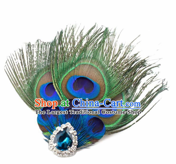 Handmade Peacock Feather Accessories Stage Show Crystal Brooch for Women