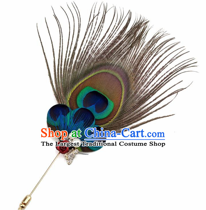 Handmade Feather Breastpin Accessories Stage Show Peacock Feather Brooch for Women