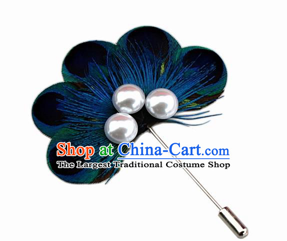 Handmade Peacock Feather Breastpin Accessories Stage Show Feather Brooch for Women