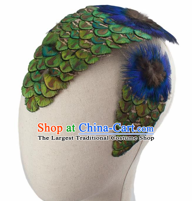 Top Brazilian Carnival Feather Hair Accessories Catwalks Folk Dance Peacock Feather Hair Claw for Women