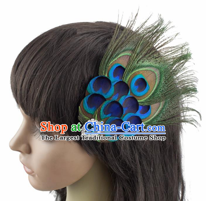 Top Brazilian Carnival Feather Hair Accessories Catwalks Folk Dance Peacock Feather Hair Stick for Women
