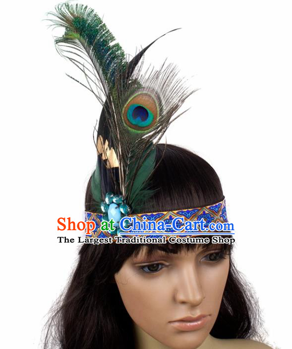 Top Brazilian Carnival Peacock Feather Hair Accessories Halloween Catwalks Primitive Tribe Hair Clasp for Women