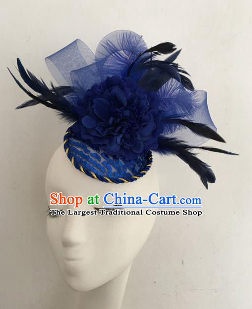 Top Brazilian Carnival Stage Show Headpiece Halloween Catwalks Blue Feather Hair Accessories for Women
