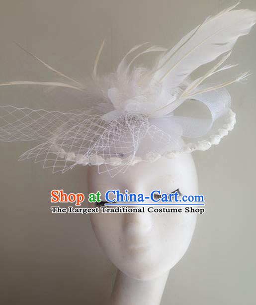 Top Brazilian Carnival Stage Show Headpiece Halloween Catwalks White Feather Top Hat for Women