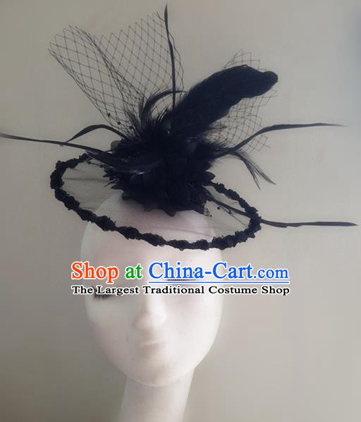 Top Brazilian Carnival Stage Show Headpiece Halloween Catwalks Black Feather Top Hat for Women