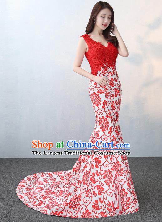 Chinese Traditional Elegant Red Lace Qipao Dress Classical Costume Mermaid Cheongsam for Women