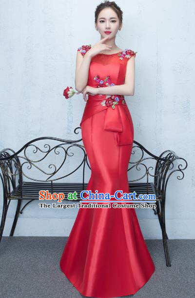 Top Stage Show Costumes Catwalks Compere Red Satin Full Dress for Women