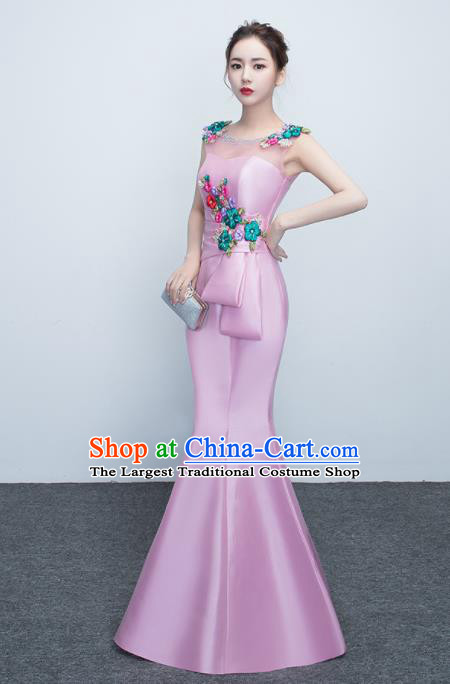 Top Stage Show Costumes Catwalks Compere Pink Satin Full Dress for Women