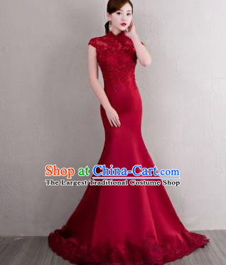 Chinese Traditional Elegant Qipao Dress Classical Costume Wine Red Lace Mermaid Cheongsam for Women