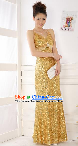 Top Stage Show Chorus Costumes Catwalks Compere Golden Full Dress for Women