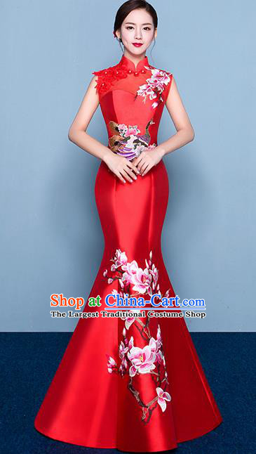 Chinese Traditional Elegant Magnolia Qipao Dress Classical Costume Red Cheongsam for Women
